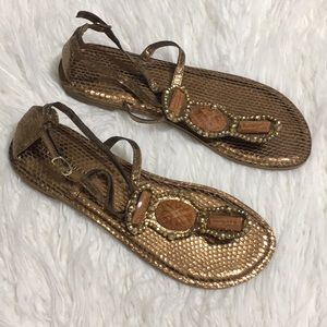 Bronze Metallic Beaded Thong Sandals Dressy